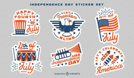 Independence day celebration stickers set