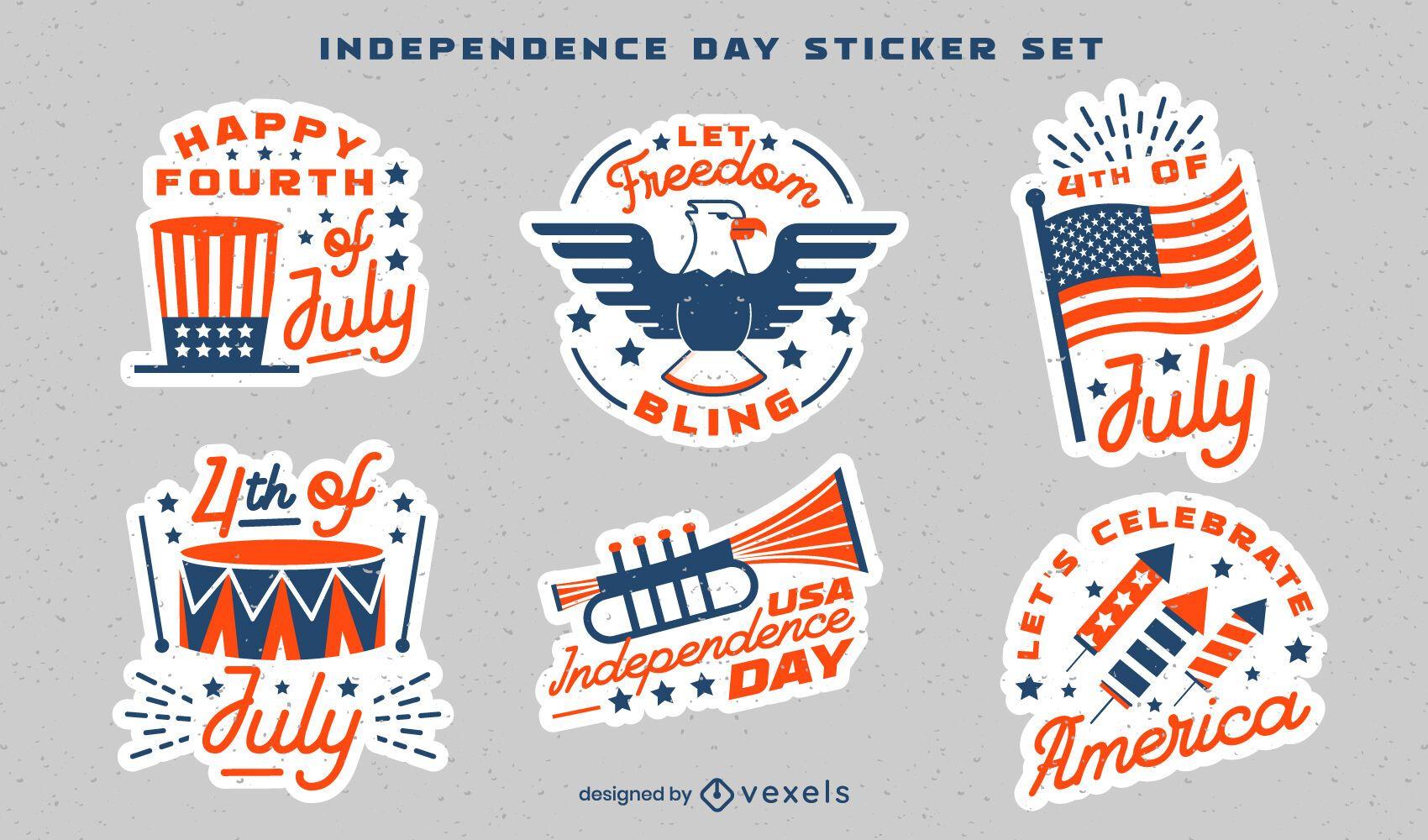 Conjunto de pegatinas de celebración del día de la independencia