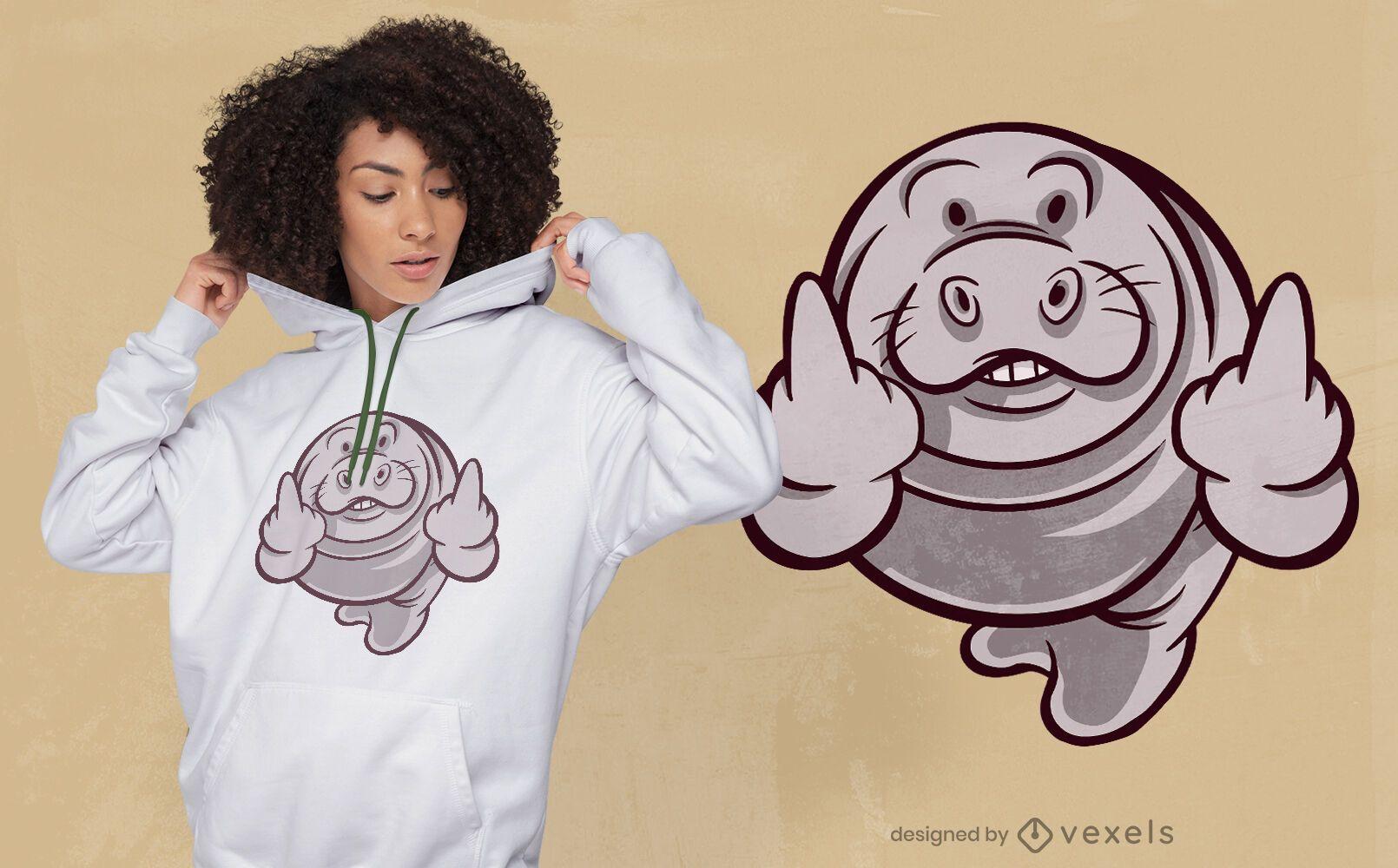 Diseño de camiseta de dibujos animados de dedo medio de manatí