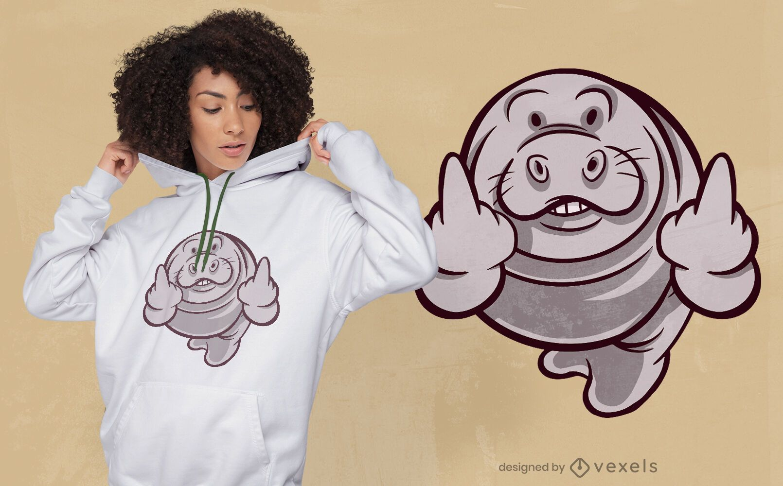 Manatee middle finger cartoon t-shirt design