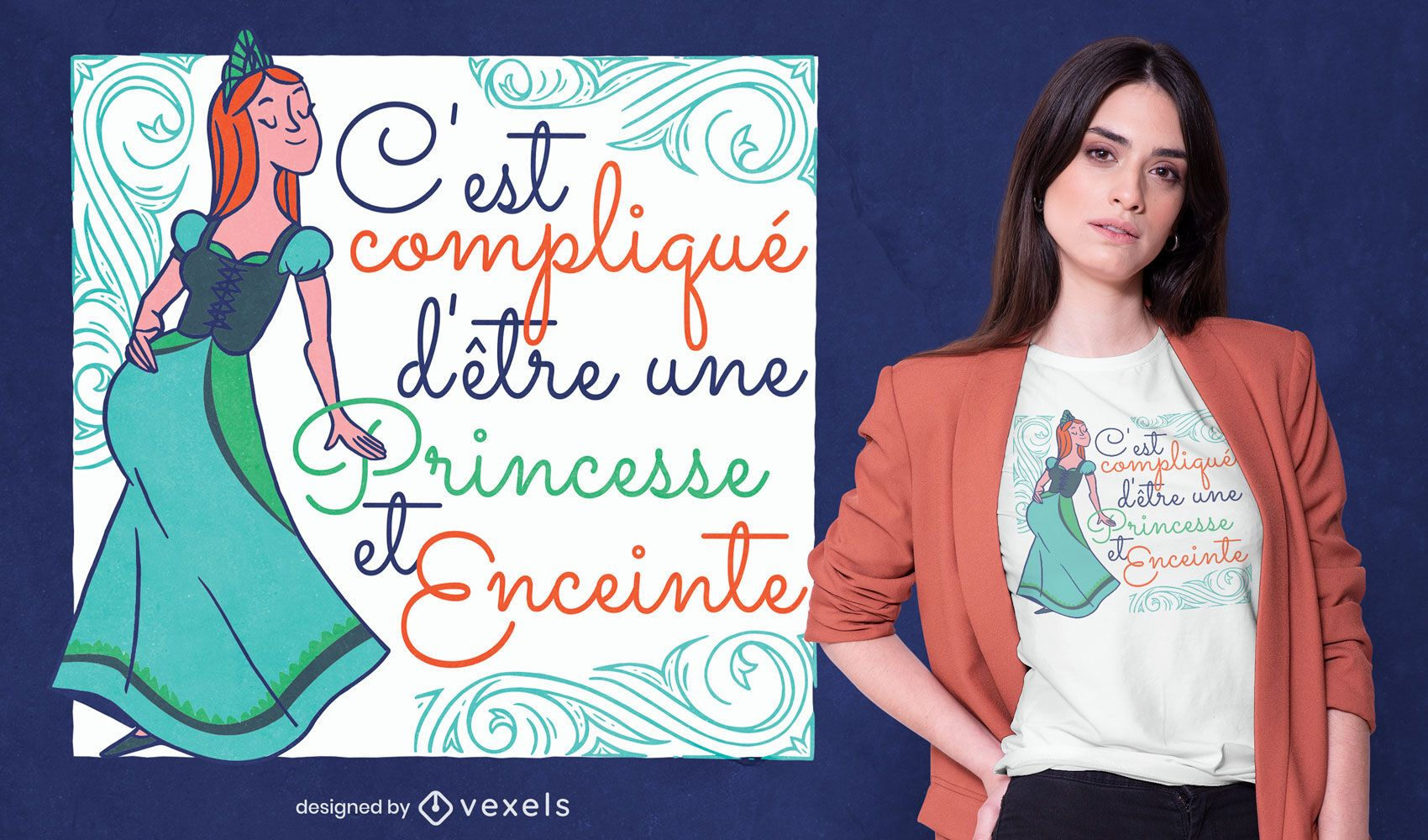 Pregnant princess French quote t-shirt design