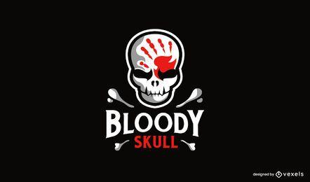Impressão de mão sangrenta no design do logotipo do crânio