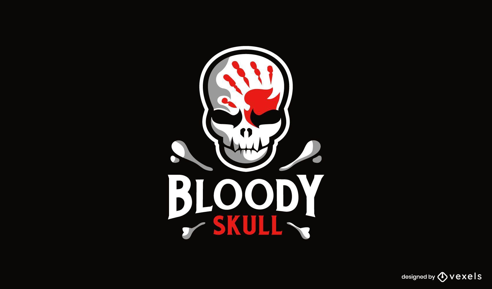 Bloody handprint on skull logo design