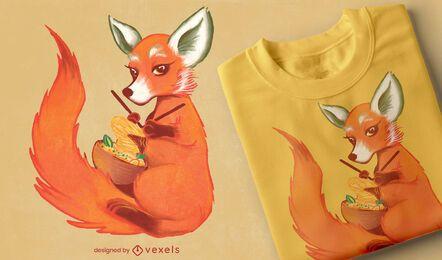 Diseño de camiseta de bufanda de fideos de punto de zorro