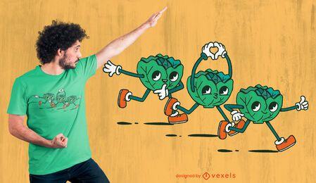 Diseño de camiseta de dibujos animados de trío de lechuga.