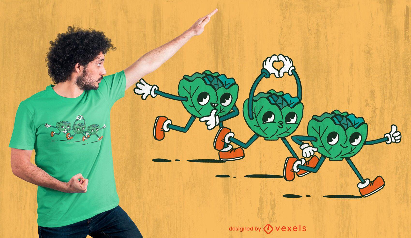 Lettuce trio cartoons t-shirt design