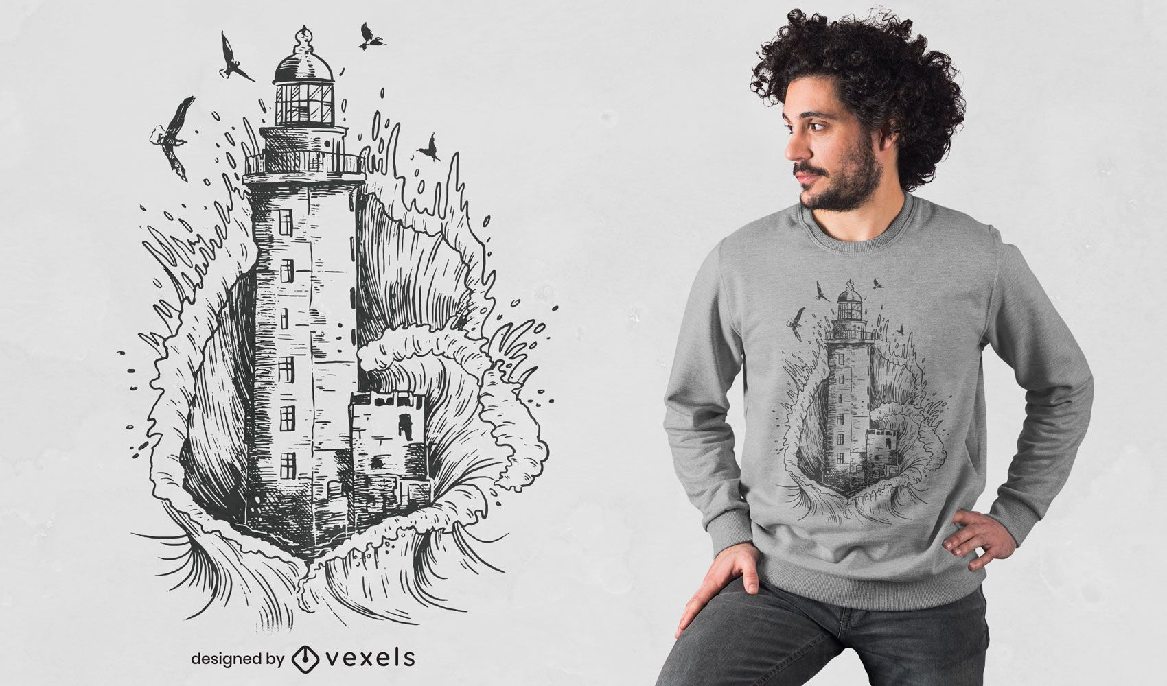 Diseño de camiseta de faro dibujado a mano.