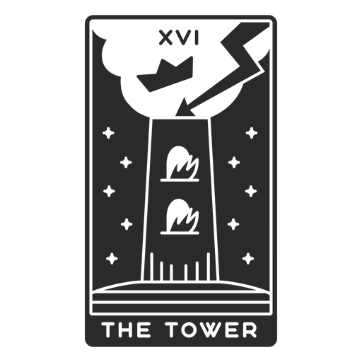 Tarot card the tower cut out