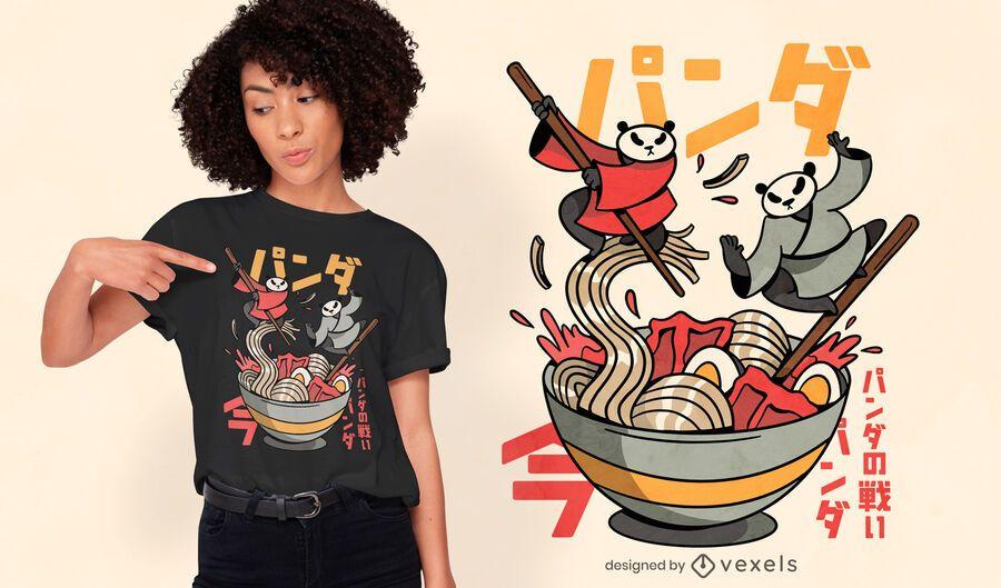 Pandas peleando en diseño de camiseta ramen.