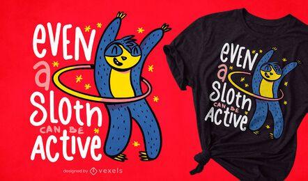 Hula hooping active sloth t-shirt design