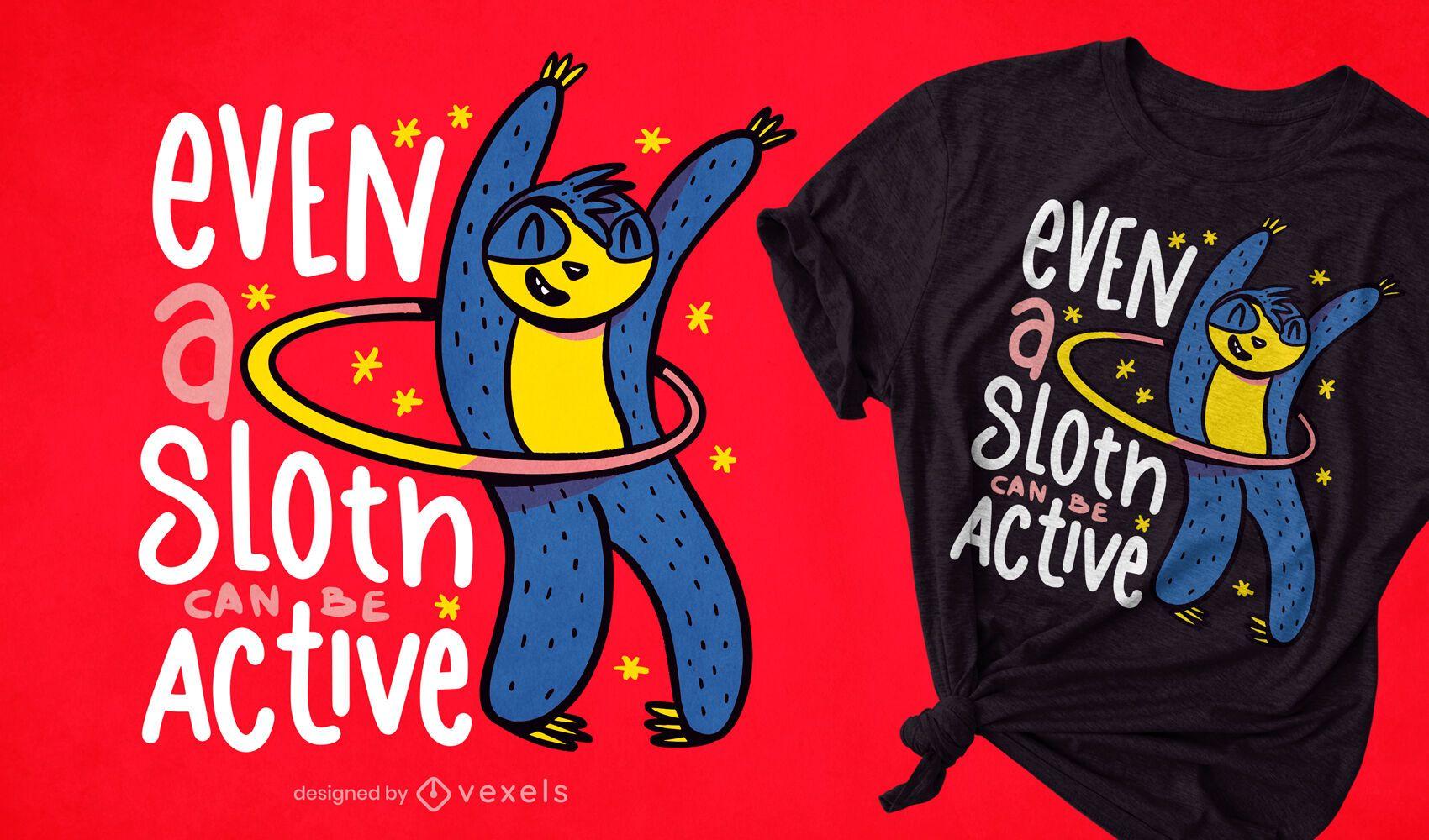 Diseño de camiseta de perezoso activo hula hooping.