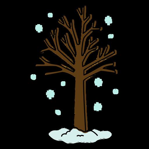 Tree in the snow color stroke
