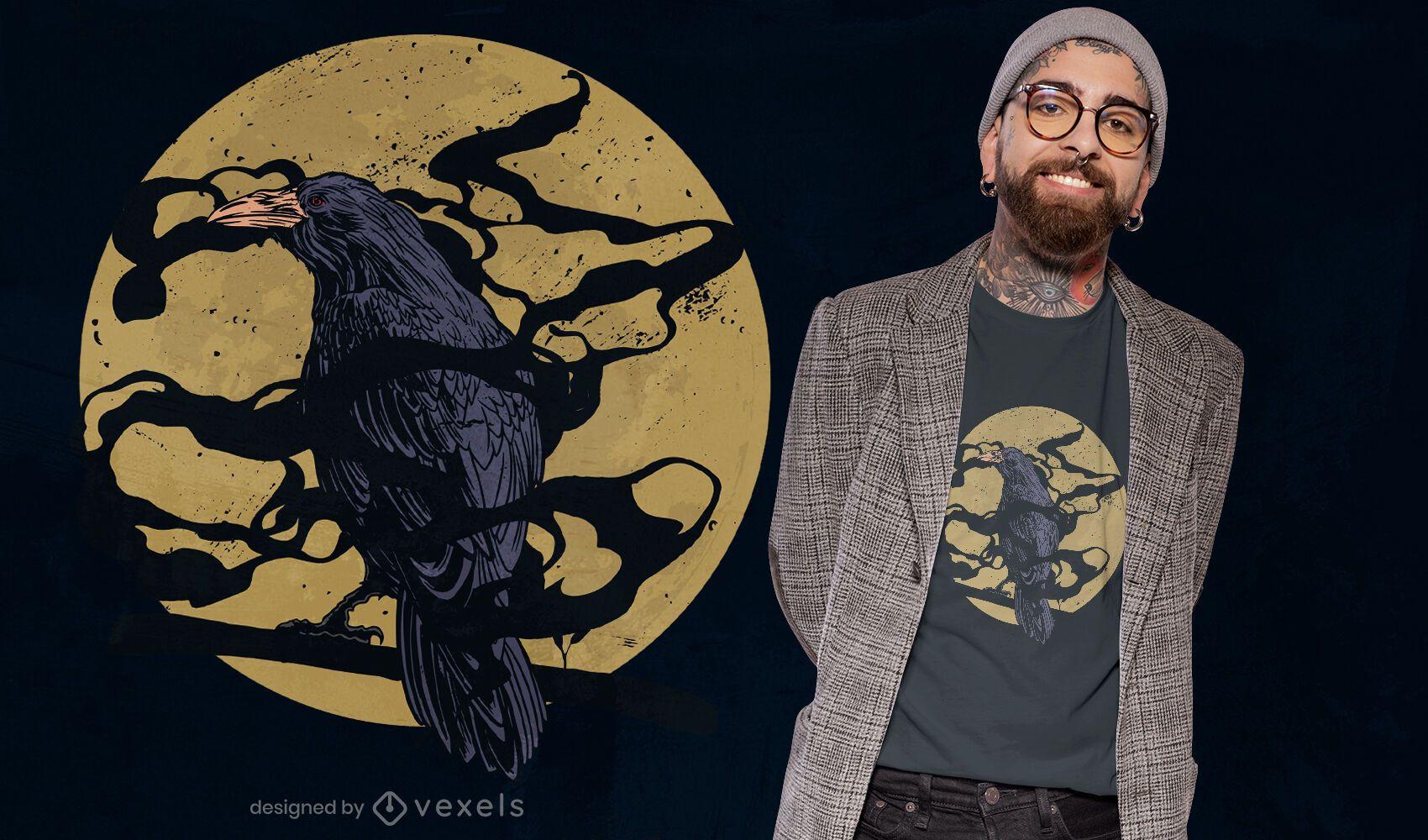 Diseño de camiseta espeluznante de cuervo y luna.