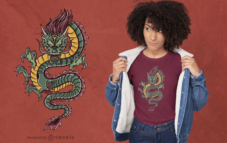 Angry green dragon t-shirt design