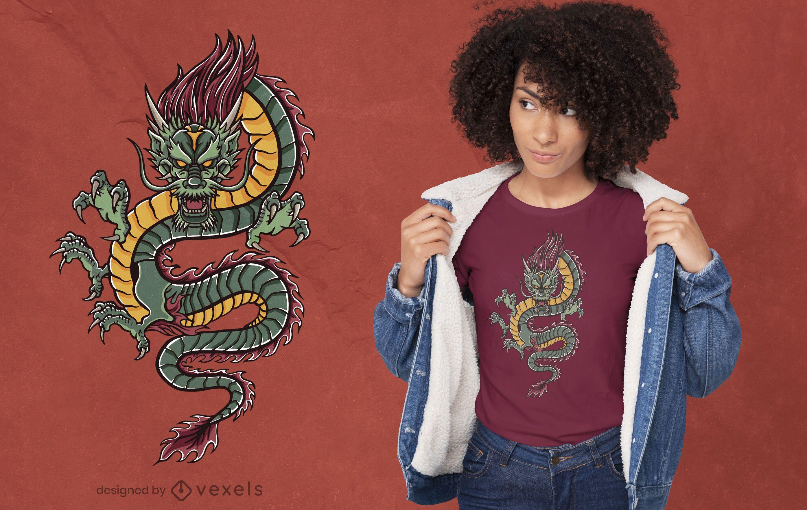 Diseño de camiseta de dragón verde enojado