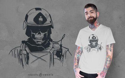Design de camiseta com caveira das forças especiais