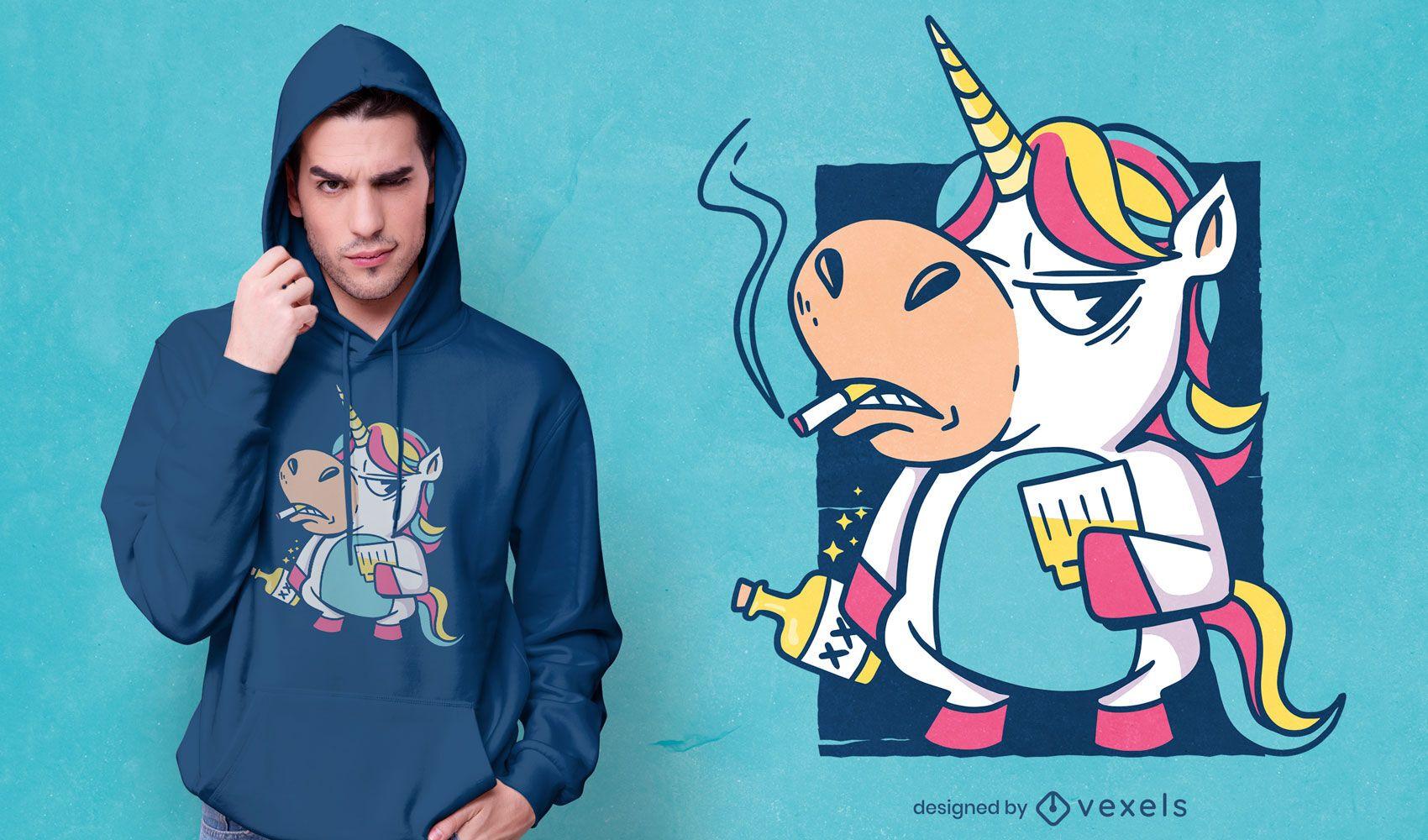 Diseño de camiseta de unicornio de malos hábitos.