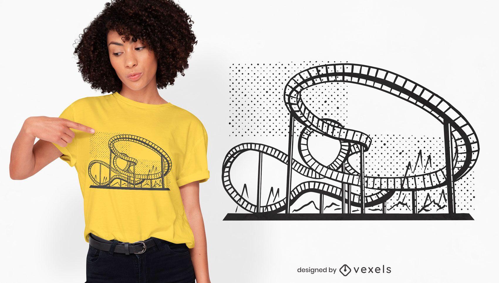 Achterbahn Vergnügungspark T-Shirt Design