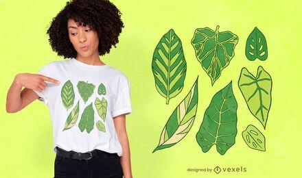 Tipos de diseño de camiseta de hojas de plantas.
