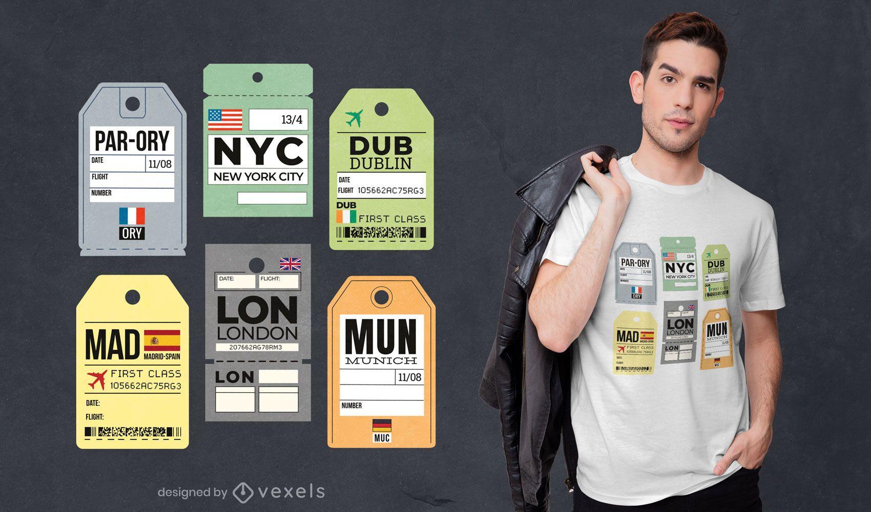 Diseño de camiseta de etiquetas de equipaje de viaje.