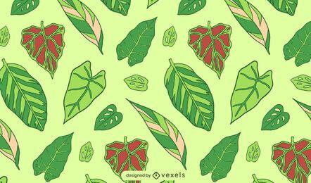 Padrão de planta natural de folhas verdes