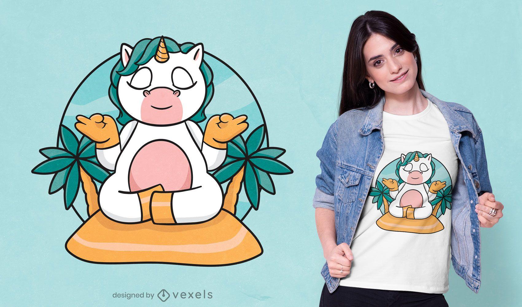 Meditating unicorn t-shirt design