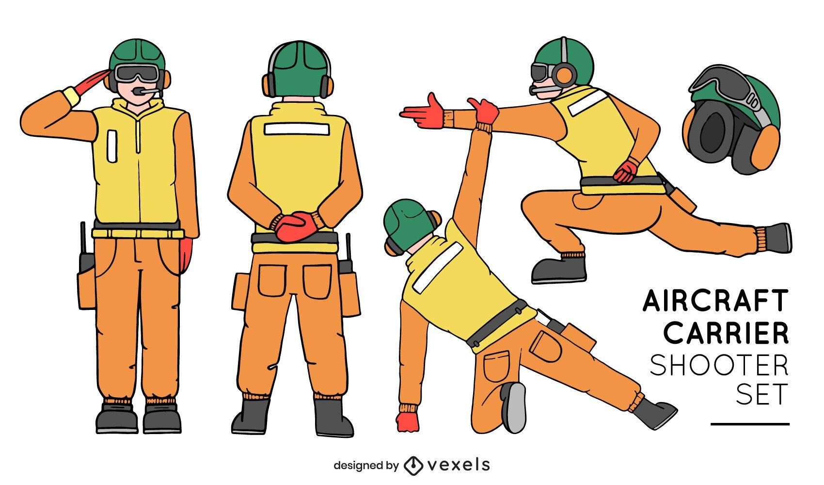 Conjunto de poses de tirador de portaaviones