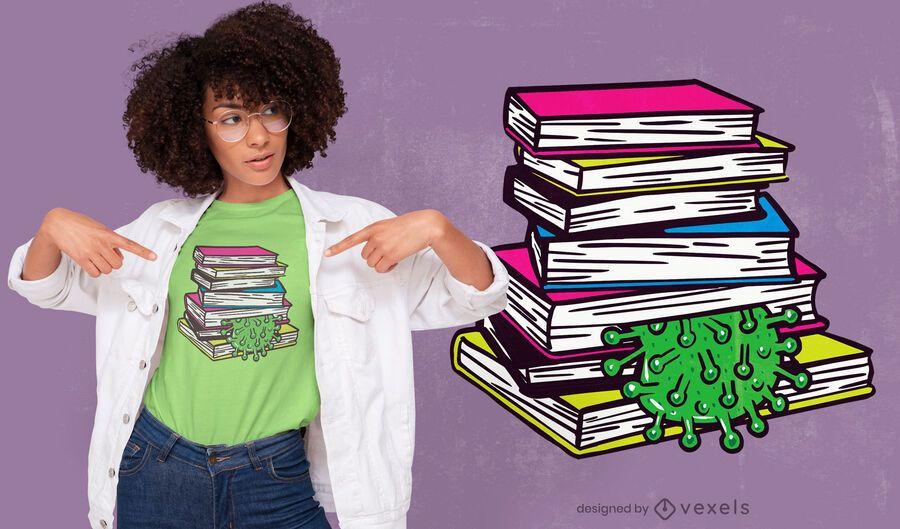 Coronavirus squashed by books t-shirt design
