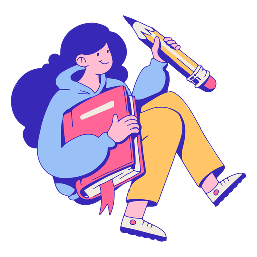 Girl with notebook and pencil cartoon