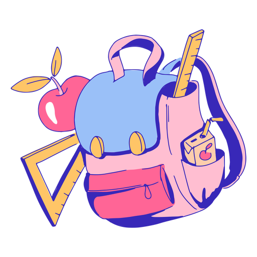 School supplies and backpack illustration