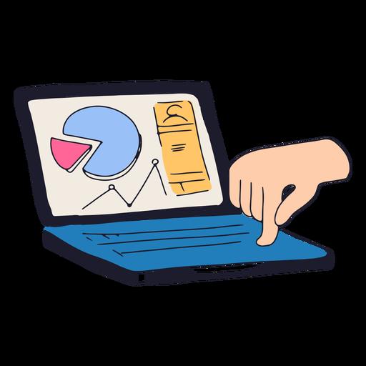 Computer with charts semi flat