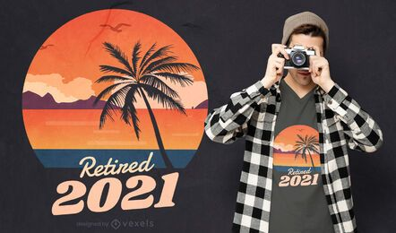 Retired 2021 beach landscape t-shirt design