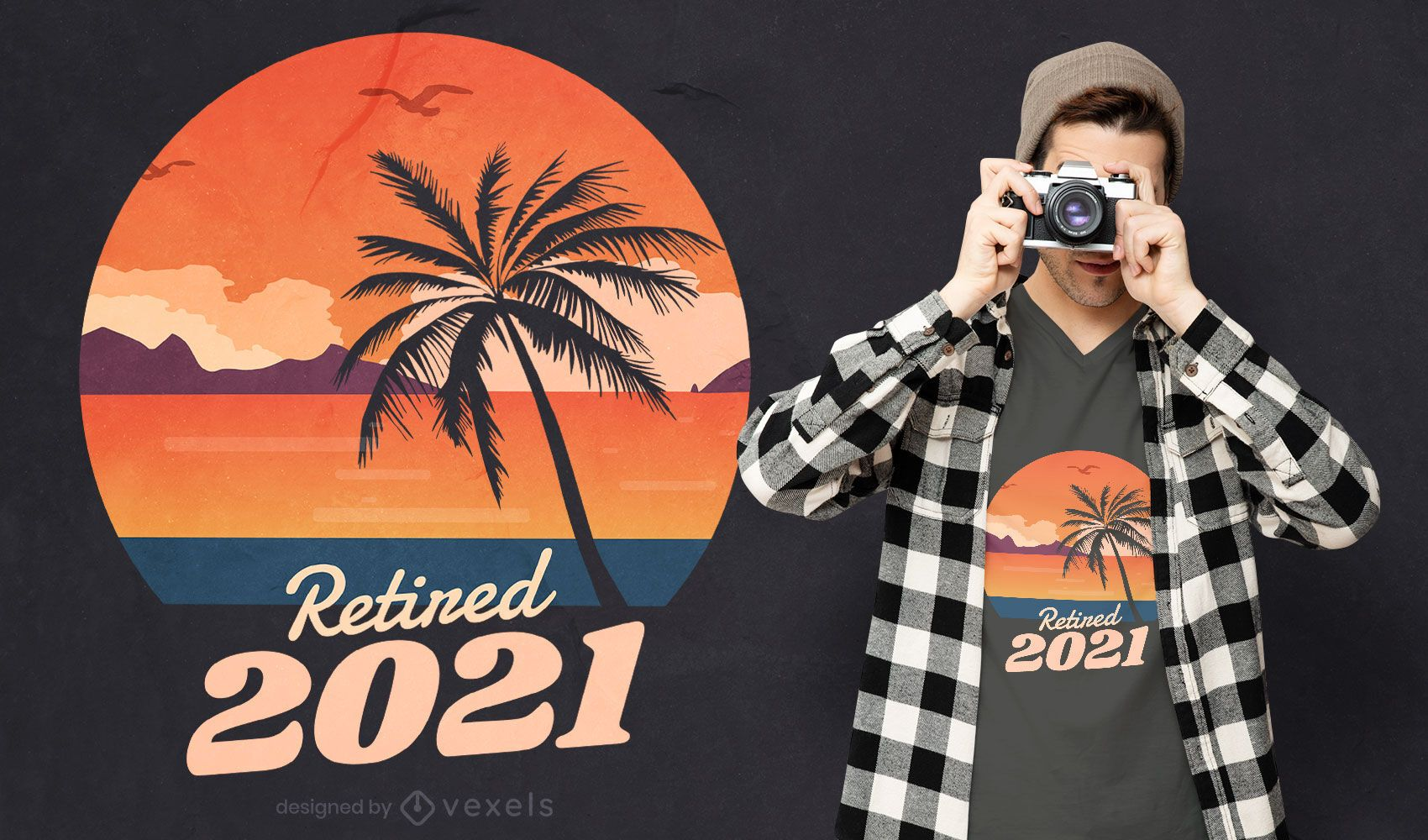 Retired 2021 beach landscape t-shirt design
