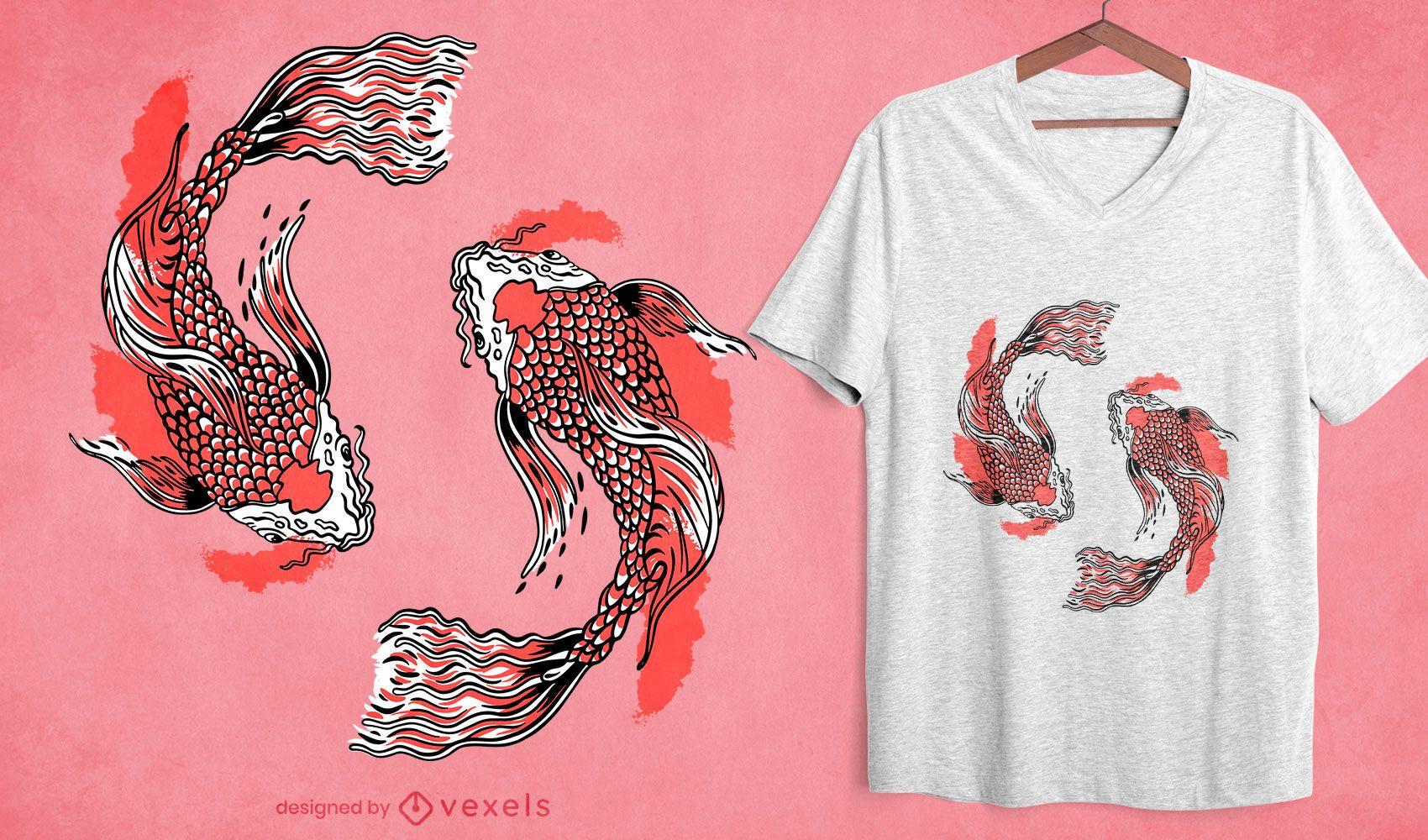 Diseño de camiseta de pez koi swirly