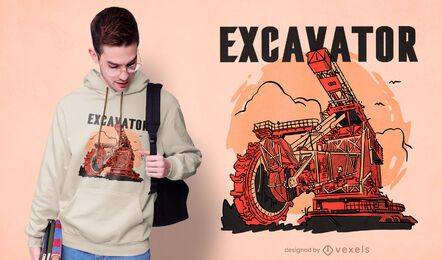Bucket wheel excavator t-shirt design