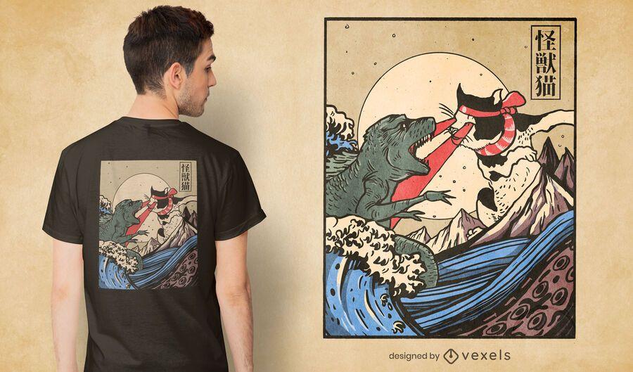 Monster vs cat t-shirt design