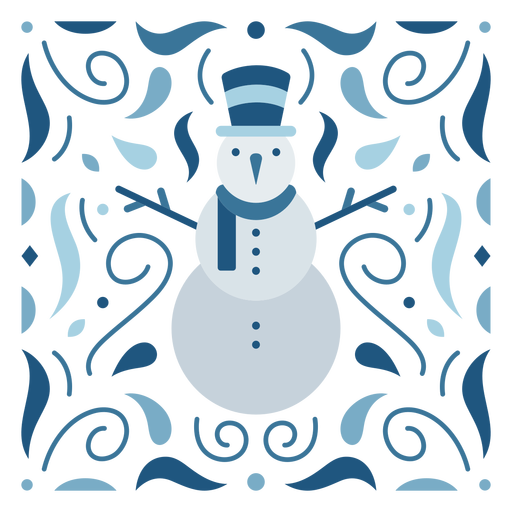 Blue snowman organic design flat
