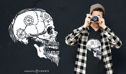 Viking skull profile t-shirt design