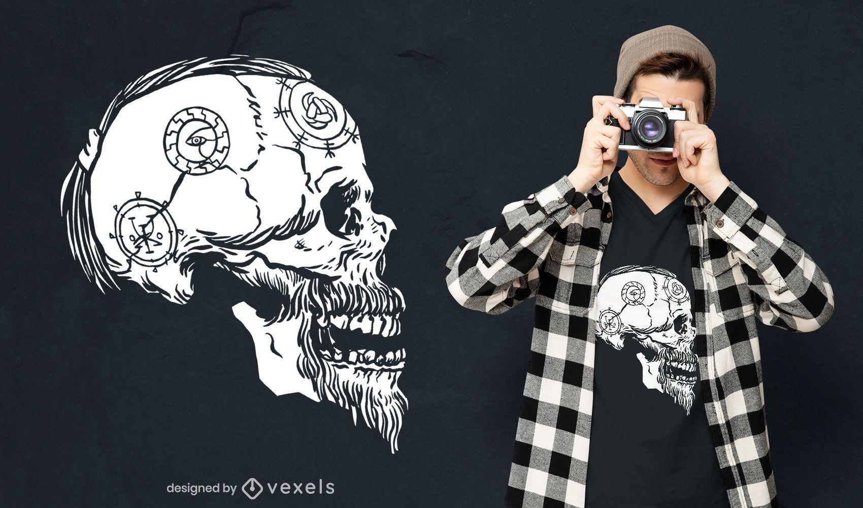 Viking skull profile t-shirt design