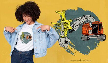 Design de camiseta para máquina colheitadeira de madeira
