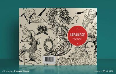 Diseño de portada de libro para colorear japonés