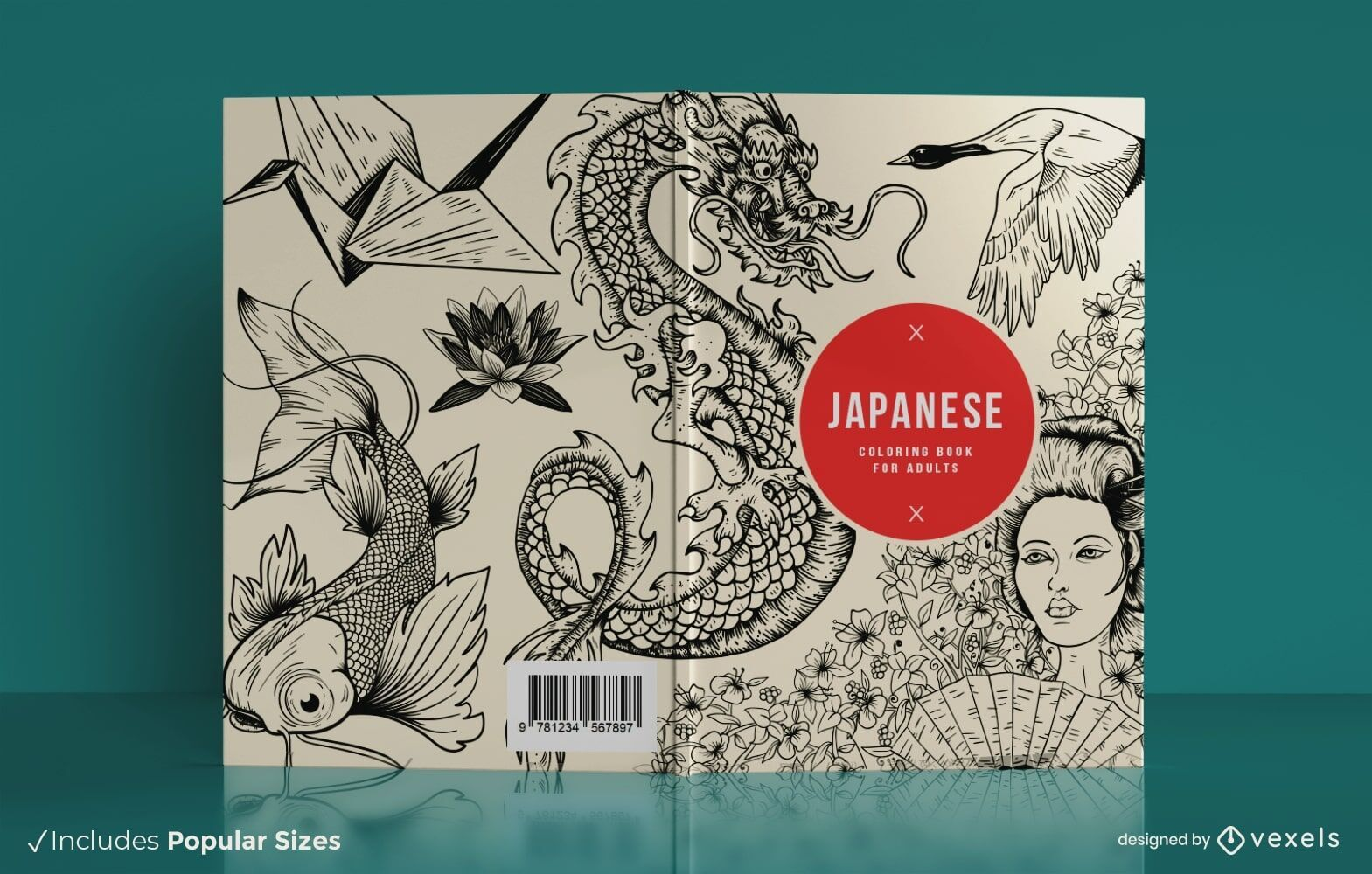 Desenho de capa de livro de colorir japonês