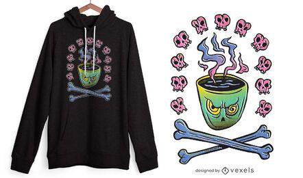Diseño de camiseta de taza de café malvada