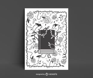 Book surrounded by flowers poster design