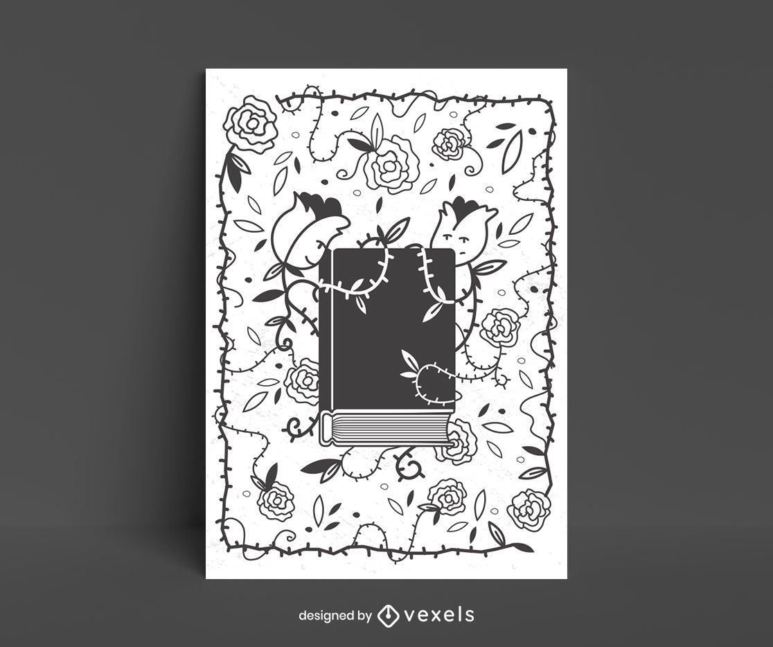 Libro rodeado de diseño de carteles de flores.