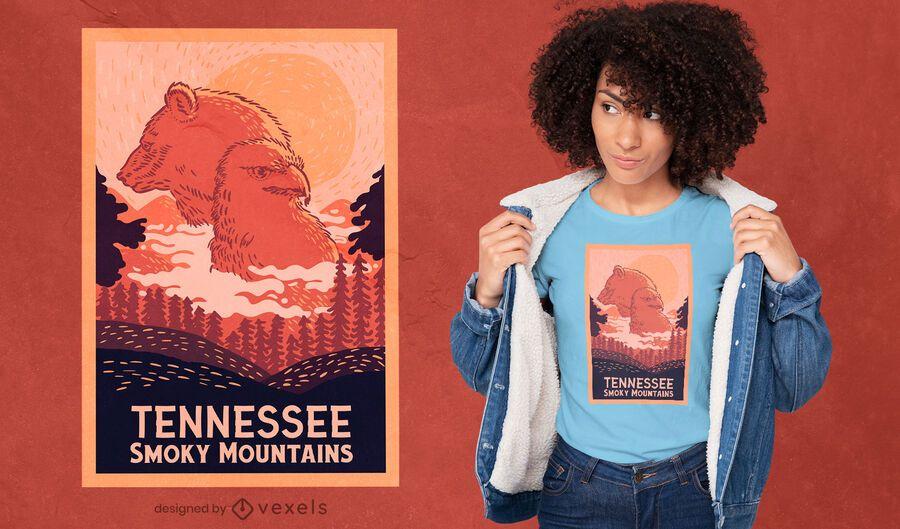 Diseño de camiseta de animales de las montañas de Tennessee.
