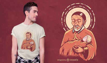 Diseño de camiseta religiosa de San Vicente