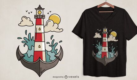 Lighthouse anchor ocean t-shirt design