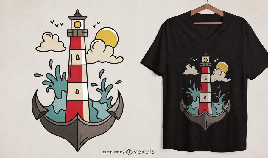 Design de camiseta oceano âncora farol