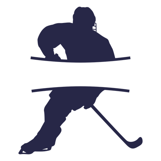 Hockey player label silhouette